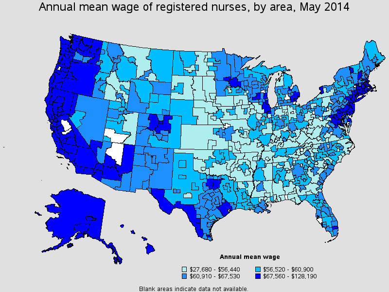 Average Annual Wage By Area 2014 BLS